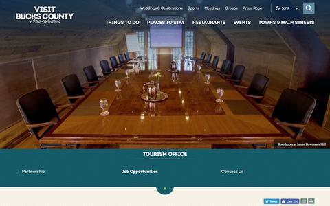 Screenshot of Jobs Page visitbuckscounty.com - Bucks County, Pennsylvania, Full Time Job, Internship Opportunities - captured May 10, 2017