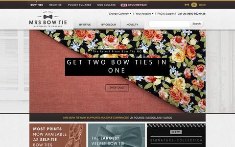 Screenshot of Home Page mrsbowtie.com - Mrs Bow Tie : Designer Bow Ties and Neck Ties - captured Sept. 19, 2014