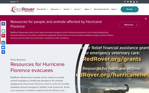 Screenshot of Press Page redrover.org - News Archives - RedRover - captured Sept. 23, 2018