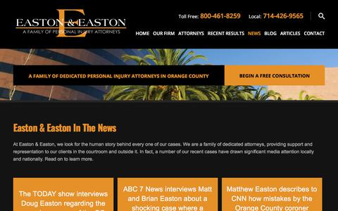 Screenshot of Press Page eastonlawoffices.com - In The News | Easton & Easton, LLP | - captured Sept. 25, 2018