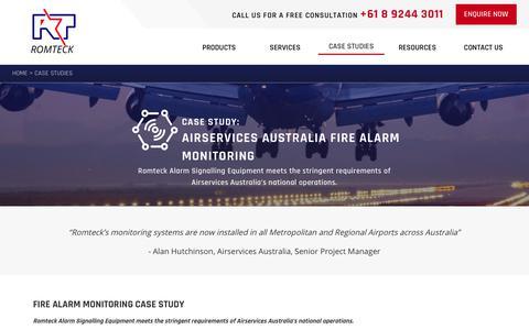 Screenshot of Case Studies Page romteck.com - Fire Alarm Monitoring - Case Study | Romteck - captured Nov. 5, 2017