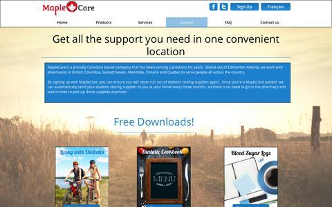 Screenshot of Support Page maplecaremedical.ca - Support - captured Nov. 18, 2016