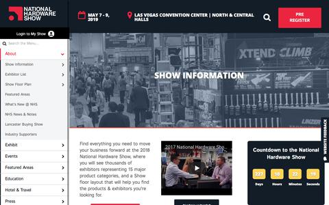 Screenshot of About Page nationalhardwareshow.com - National Hardware Show, May 9 - 11, 2017 - Las Vegas - NationalHardwareShow - captured Sept. 21, 2018