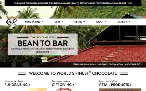 Screenshot of Home Page worldsfinestchocolate.com - World's Finest Chocolate |  Making Delicious Chocolate for Three Generations - captured Aug. 16, 2015