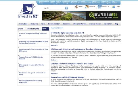 Screenshot of Press Page investinnz.co.nz - Invest In NZ News | Invest in NZ - captured Aug. 6, 2016