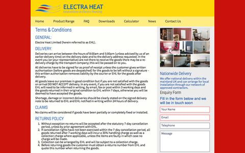 Screenshot of Terms Page electraheat.co.uk - Terms & Conditions - Electra Heat - captured Oct. 2, 2014