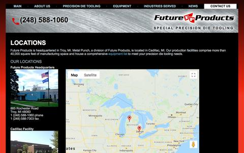 Screenshot of Locations Page future-products.com - CNC Machine Shop - Troy, MI and Cadillac, MI - Future Products - captured Sept. 5, 2018