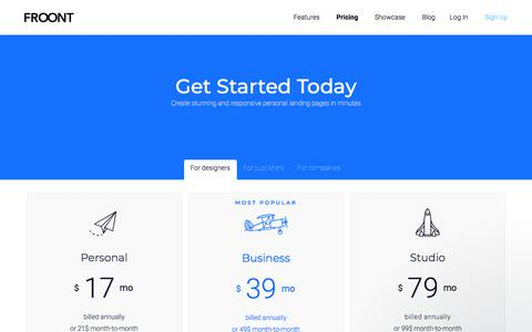 Screenshot of Pricing Page froont.com - FROONT pricing - captured Sept. 3, 2019