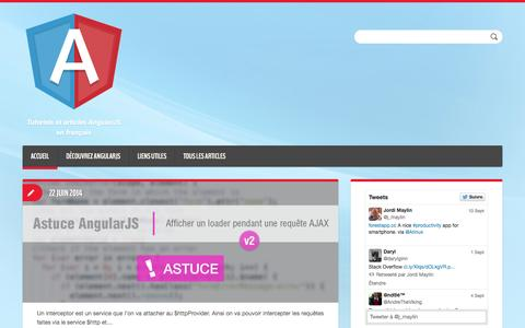 Screenshot of Home Page angular-js.fr - Angular-JS.fr | Tutoriels et articles AngularJS en français - captured Sept. 19, 2014