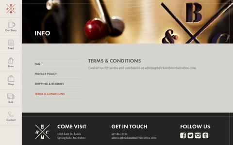 Screenshot of Terms Page brickandmortarcoffee.com - Terms & Conditions - Brick & Mortar Coffee - captured Nov. 3, 2014
