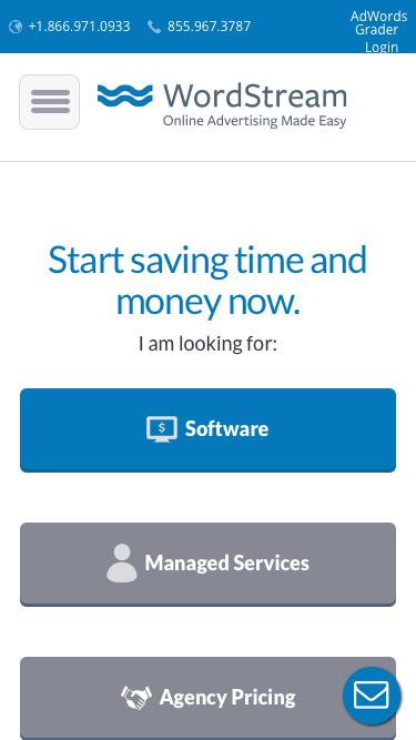 Screenshot of Pricing Page  wordstream.com - Choose a plan that works for you. | WordStream