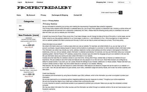 Screenshot of Privacy Page prospectredalert.com.au - Privacy Notice : Women & Girls - Summer Dress new series -prospectredalert.com.au - captured July 18, 2016
