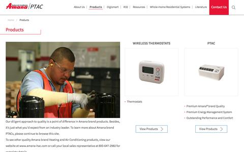 Screenshot of Products Page amana-ptac.com - Amana Packaged Terminal Air Conditioning Products - captured March 2, 2018