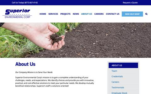 Screenshot of About Page superiorenvironmental.com - About Us - Superior Environmental Corporation - captured Oct. 18, 2018