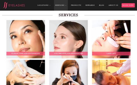Screenshot of Services Page jjeyelashes.com - Services - JJ Eyelashes - captured March 1, 2019