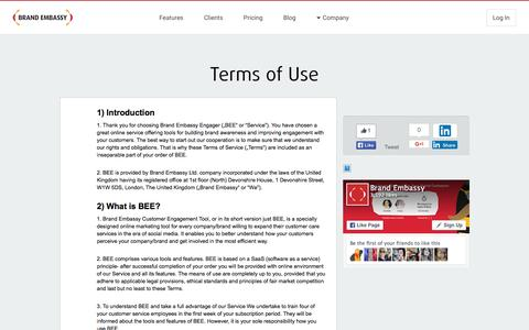 Screenshot of Terms Page brandembassy.com - Terms of Use - Brand Embassy - captured Dec. 3, 2015
