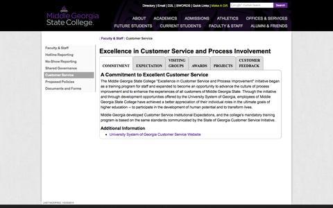 Screenshot of Support Page mga.edu - MGA: Customer Service - captured Nov. 2, 2014