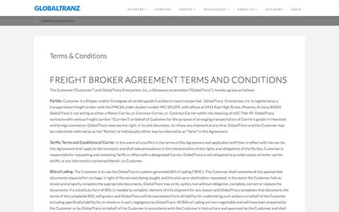 Terms & Conditions | GlobalTranz