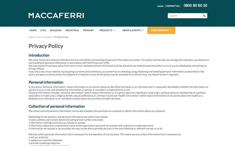 Screenshot of Privacy Page maccaferri.co.nz - Privacy Policy - captured Nov. 2, 2014
