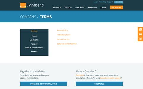 Screenshot of Terms Page lightbend.com - Terms | @lightbend - captured March 5, 2016