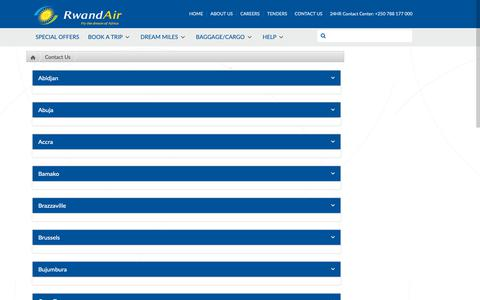 Screenshot of Contact Page rwandair.com - Contact Us - Affordable Flights at RwandAir, Fly the Dream of Africa - captured Oct. 18, 2018