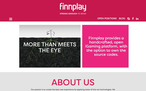 Screenshot of About Page finnplay.com - Finnplay - About us - captured Dec. 9, 2018