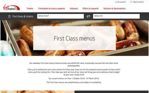 Screenshot of Menu Page virgintrains.co.uk - First Class Menu - Experience - Virgin Trains - captured Dec. 16, 2018