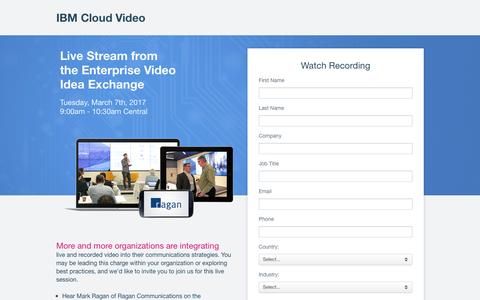 Screenshot of Landing Page ustream.tv - 2017 Chicago Enterprise Video Idea Exchange | IBM Cloud Video - captured March 30, 2017