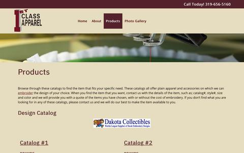 Screenshot of Products Page 1stclassapparel.com - Embroidery & Screen Printing Designs for Commercial & Clothing Use in Cedar Rapids & Iowa City, Iowa  | 1st Class Apparel Inc - captured Nov. 1, 2018