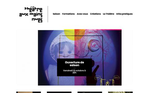 Screenshot of Home Page theatre-aux-mains-nues.fr - Théâtre aux Mains Nues - captured Oct. 21, 2018