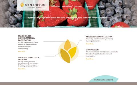 Screenshot of Home Page synthesis-network.com - Synthesis Agri-Food Network | Strategy. Action. Results. - captured Dec. 2, 2016
