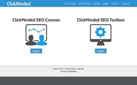 Screenshot of Login Page clickminded.com - Login - ClickMinded - captured Nov. 14, 2015