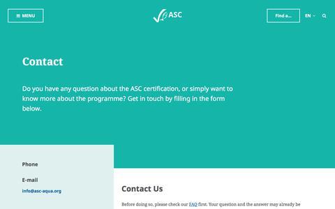 Screenshot of Contact Page asc-aqua.org - Contact - Aquaculture Stewardship Council - captured Oct. 8, 2017
