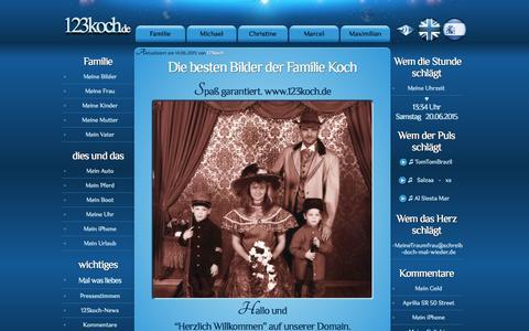 Screenshot of Home Page 123koch.com - Die besten Bilder der Familie Koch - www.123koch.com/ - captured June 20, 2015