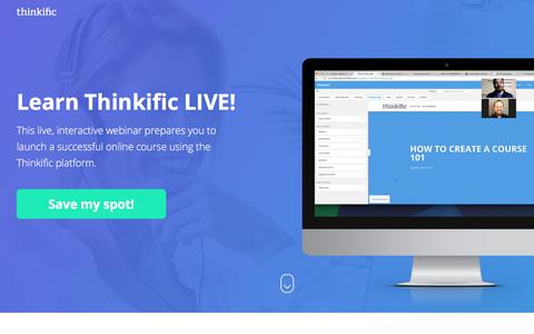 Screenshot of Landing Page thinkific.com - Create and Launch Your Online Course on Thinkific - captured July 27, 2017