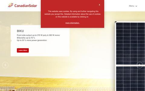 Screenshot of Home Page canadiansolar.com captured Dec. 31, 2019