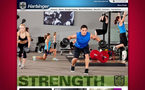 Screenshot of Home Page harbingerfitness.com - Harbinger Fitness - captured Sept. 23, 2014