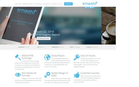 Screenshot of Home Page smaato.com - Mobile Advertising with Smaato - captured Sept. 17, 2014