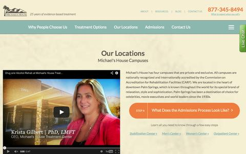 Screenshot of Locations Page michaelshouse.com - Our Locations - Michael's House - Drug & Alcohol Treatment Centers - captured Oct. 27, 2014