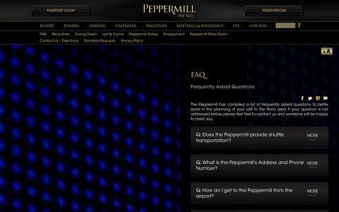 Screenshot of FAQ Page peppermillreno.com - FAQ: Frequently Asked Questions | Peppermill Resort Spa Casino, Reno, Nevada - captured Sept. 24, 2014
