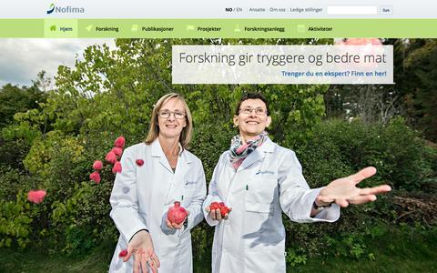 Screenshot of Home Page nofima.no - Nofima | matforskningsinstituttet - captured Aug. 3, 2015