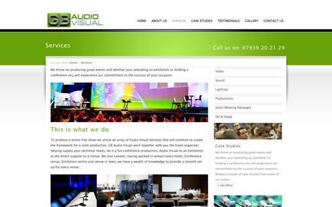 Screenshot of Services Page gbaudiovisual.co.uk - Services include PA Hire, Audio Hire and Sound Equipment Hire, Croydon, London, UK | GB Audio Visual - captured Sept. 26, 2014