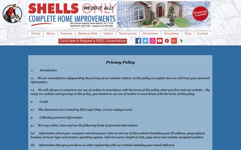 Screenshot of Privacy Page shellsonly.com - Shells Only Complete Home Improvement | Dormers | Extensions | Babylon | Privacy - captured Oct. 2, 2018