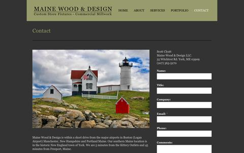Screenshot of Contact Page mwdsgn.com - Contact – Maine Wood & Design - captured Feb. 4, 2016