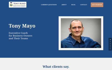 Screenshot of Home Page mayogenuine.com - Tony Mayo Executive Coach for Business Owners & Their Teams | Tony Mayo - captured Sept. 12, 2015