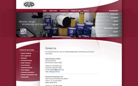 Screenshot of Contact Page gud.com.au - Contact Us - captured Oct. 1, 2014