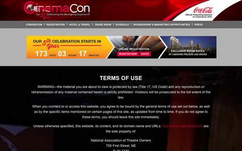 Screenshot of Terms Page cinemacon.com - Terms of Use | CinemaCon - captured Oct. 28, 2014