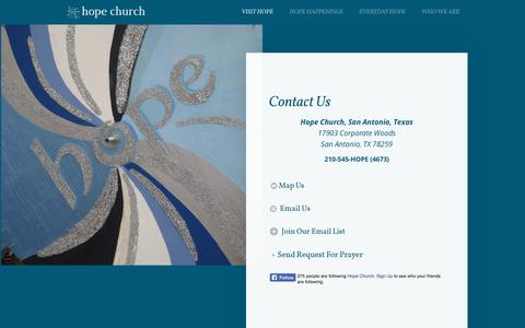 Screenshot of Contact Page hopeisreal.org - Hope Church | A Real Place for Real People | Contact - captured Sept. 3, 2017