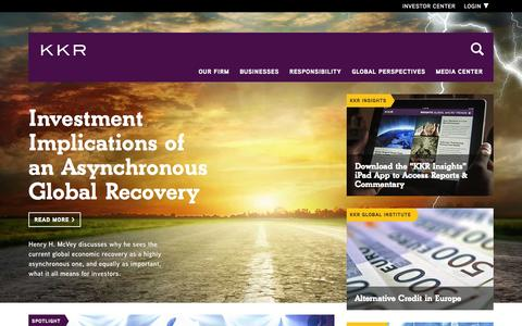 Screenshot of Home Page kkr.com - KKR - captured Sept. 23, 2014