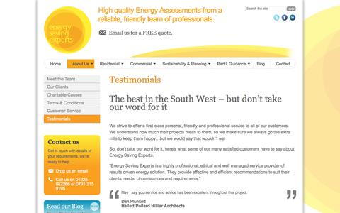 Screenshot of Testimonials Page energy-saving-experts.com - Testimonials - Energy Saving ExpertsEnergy Saving Experts - captured Aug. 8, 2017
